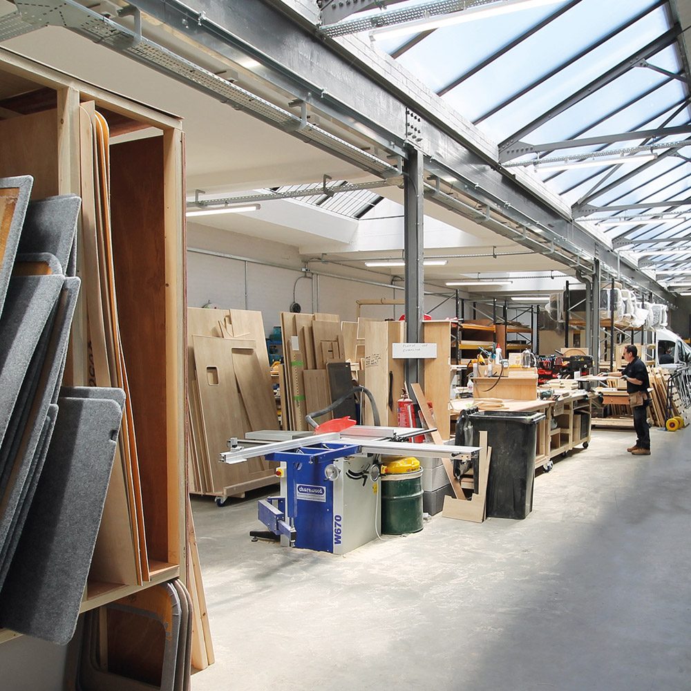 A view from the mezzanine inside our factory.