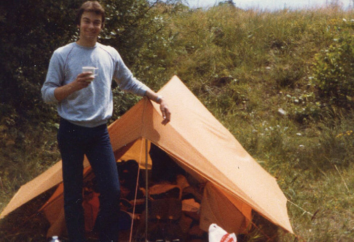 Scot Naylor camping in the early 1980's.