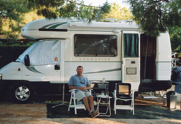Scot Naylor with a coachbuilt motorhome.